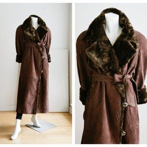 Vintage Bally Long Brown Suede Belted Trench
